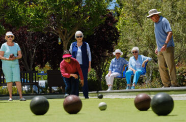 residents playing bocce ball