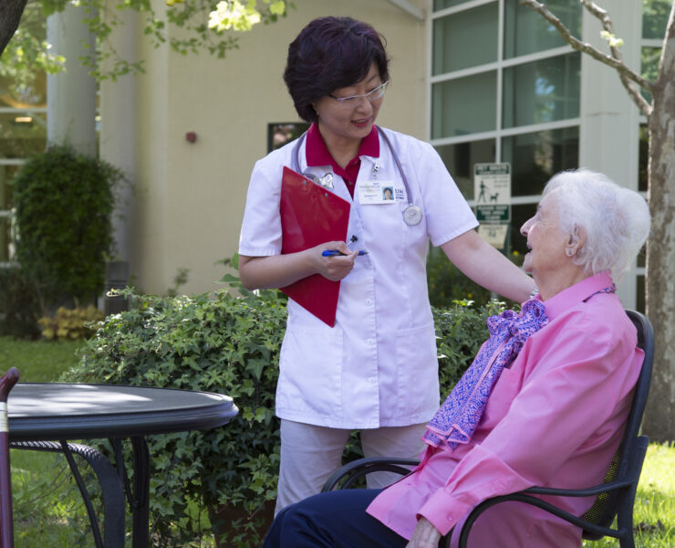 Nurse with resident